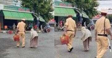 Không biết chợ bị rào, bà cụ lưng còng mang 2 mụt măng đi bán được chiến sĩ CA mua giúp rồi chở về tận nhà