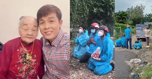Diễn viên Hòa Hiệp xót xa quỳ giữa đường đưa tiễn bà ngoại qua đời, Việt Hương hỗ trợ lo hậu sự