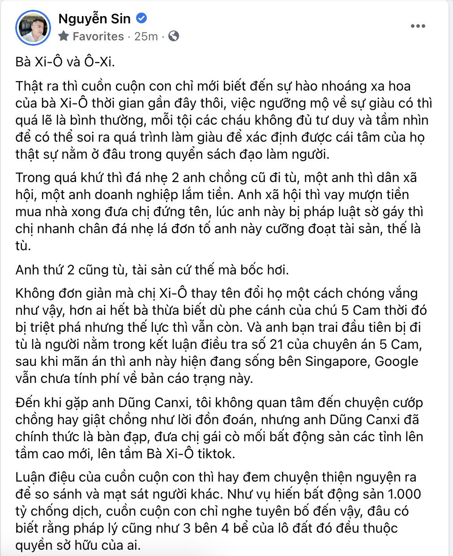 Nguyễn Sin yêu cầu bà Hằng livestream nói rõ về chuyện tư tình với Võ Hoàng Yên: Chị có tính chuyển tiền cho ổng rồi túp lều tranh 2 quả tim vàng không? - Hình 1