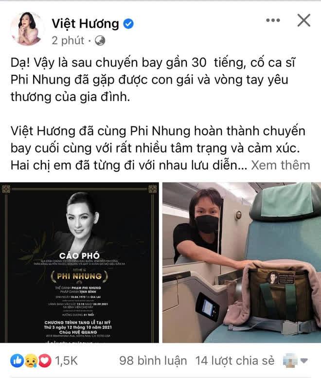 Việt Hương kể lại 30 tiếng đưa ca sĩ Phi Nhung về Mỹ, hình ảnh nâng niu tro cốt cố đồng nghiệp gây xúc động mạnh - Hình 1