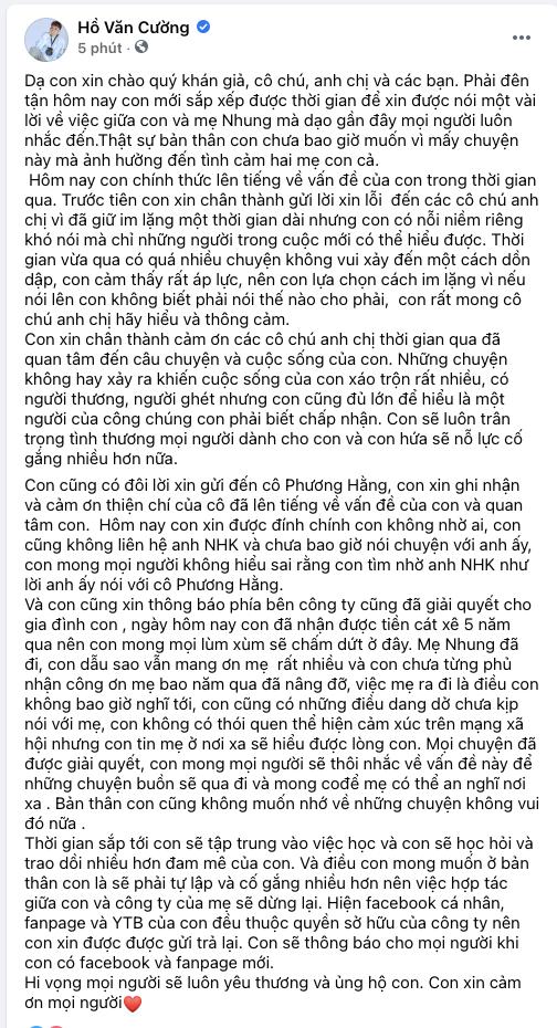 Hồ Văn Cường lên tiếng xin lỗi, làm rõ mối quan hệ với CEO Đại Nam và Cậu IT Nhâm Hoàng Khang - Hình 1