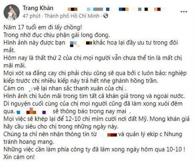 Quản lý Phi Nhung 'vỗ mặt' Trang Trần, nói rõ về chuyện di nguyện của cố ca sĩ sắp được công bố - Hình 1